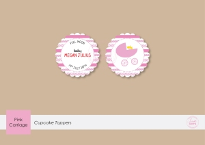 Cupcake Toppers - Pink Carriage